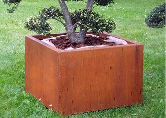 Box Shape Corten Steel Planter For Outdoor / Garden / Public Decoration