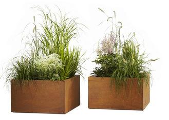 Contemporary Metal Planters Large Flower Pots Corten Steel Materia