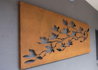 Laser Cut Corten Steel Metal Wall Art Trees And Fence For Outdoor / Indoor